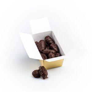 Curmale cu ghimbir confiat, în ciocolată neagră, 200g
