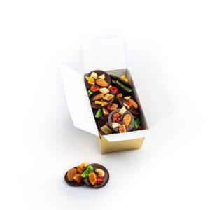 Discuri din ciocolată neagră cu fructe confiate, 200g